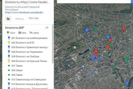 В интернете появилась карта блокпостов террористов Донбасса