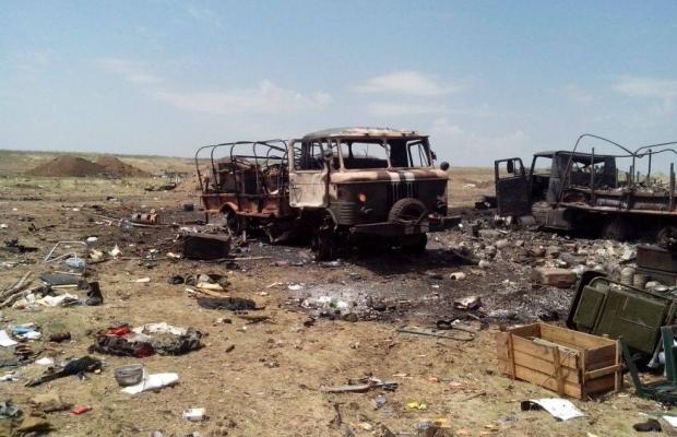 Уничтоженный лагерь АТО под Зеленопольем. Фото