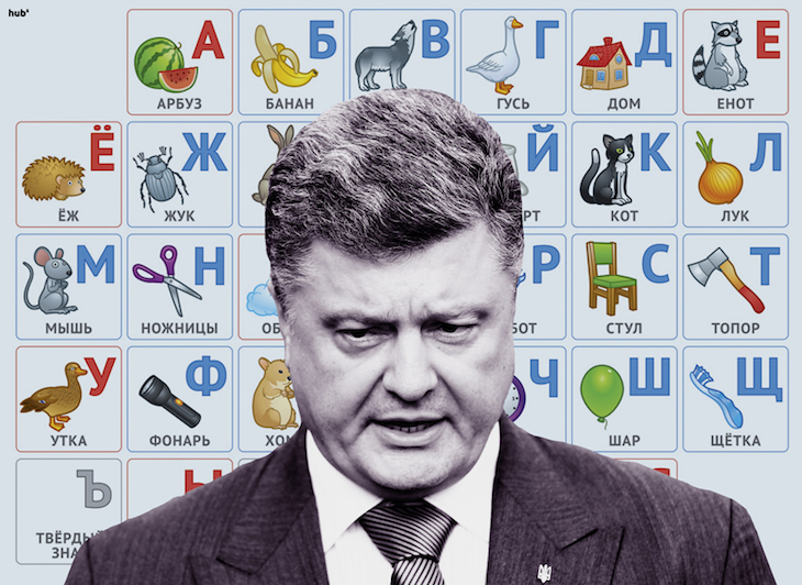 Петр Порошенко на фоне азбуки