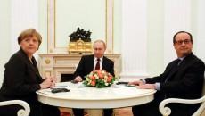 Ангела Меркель и Франсуа Олланд на встрече с Владимиром Путиным в Москве