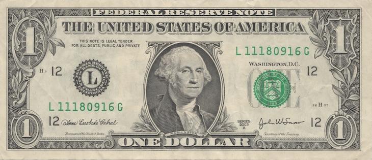 Однодолларовая купюра - все, что было в кассе банка «Финансы и кредит»