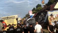 В Киеве на Святошино продолжился конфликт из-за сноса МАФов