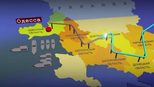 Карта аммиакопровода Тольятти - Одесса