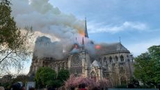 Во время пожара в Соборе Парижской Богоматери обрушилась крыша